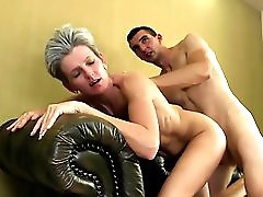 Slim Mother Rides Young Huge Cock