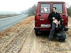 Crazy Whore Sucks Cock On The Road