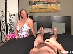 Busty MILF Jerks Off Her Messy Step Son
