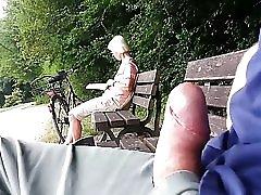 Teaser Public Cumshot For Granny In The Park