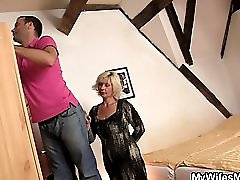 Blonde Mother Inlaw Seduces Married Guy