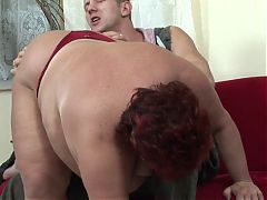 Hunk Bangs Red Headed Bbw Hard On The Sofa