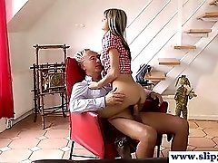 Young British Teen Drilled By Old Man Cock
