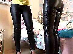 Two Superhot Milfs Playing In Wet Look Leggings