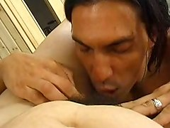 Elder Mom & Young Man At The Sauna