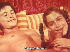 Teen In Pigtails Pleasing Her Man's Dick 1960s Vintage