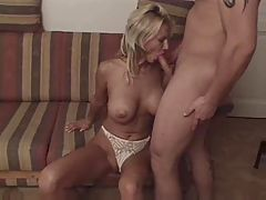 Huge Tited Blonde Gets Both Holes Checked And Sucks