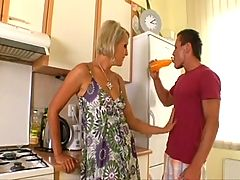 Short Haired Blond Milf Eats Muscle Guy's Asshole