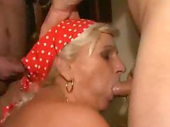 Hairy Granny Gangbanged