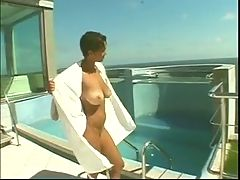 Busty Ebony With Sexy Butt Enjoys A Thick White Cock Fuck In The Pool