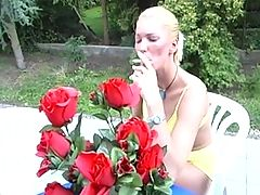 Shaved Blonde Smokes Cigarette And Fucks Outdoors