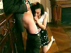 Short Haired French Daughter Double Fucking On A Table