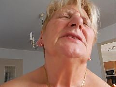 Grandma Rides Hubby And Tries Not To Moaning