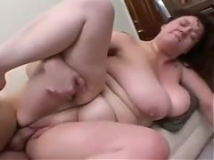 Chubby Redhead Milf Fucks Young In Couch