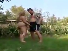 Grandma Is Fucked By A Guy In The Garden