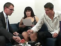 Two Dudes Bang Huge Titted Mature Bitch