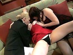 British Slut Samantha In A Lesbian Threesome