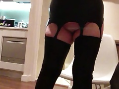 Sexy Granny In Latex Playing In Front Of Mirror