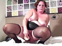 Granny With Saggy Tits And Favourite Big Toy