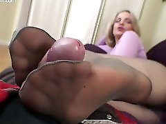 German Milf Hot Pantyhose Footjob #01