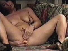 Hidden Cam My Kinky Mom Home Alone Has Fun In Living Room