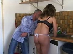 German Pussy Fucking In Kitchen Big Tits