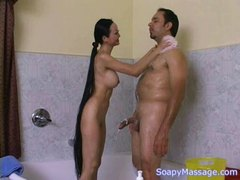 Extreme Long Hair Japanese Masseuse Gives Handjob