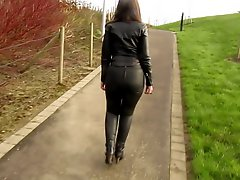 Leather Eva Out For A Stroll In My New Leather Leggings 5