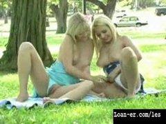 Hot Blonde Lesbians Have Sex In A Public Park