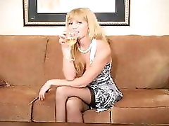 Drunk Blonde MILF Gets Naked