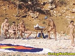 Beach Amateur Babes In Group Riding Cock
