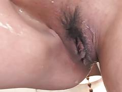 Slender Babe Gets Oiled Up Before Toy Masturbation