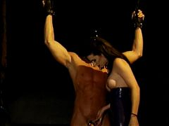 Bound Stud With Cock Ring Gets Stroked By Master