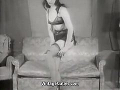 Brunette Beauty Seduces In Thigh Highs 1950s Vintage
