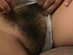 Skinny Asian Gets Her Hairy Cunt Covered In Cum