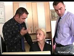 She Sucks And Fucks Two Cocks At Job Interview